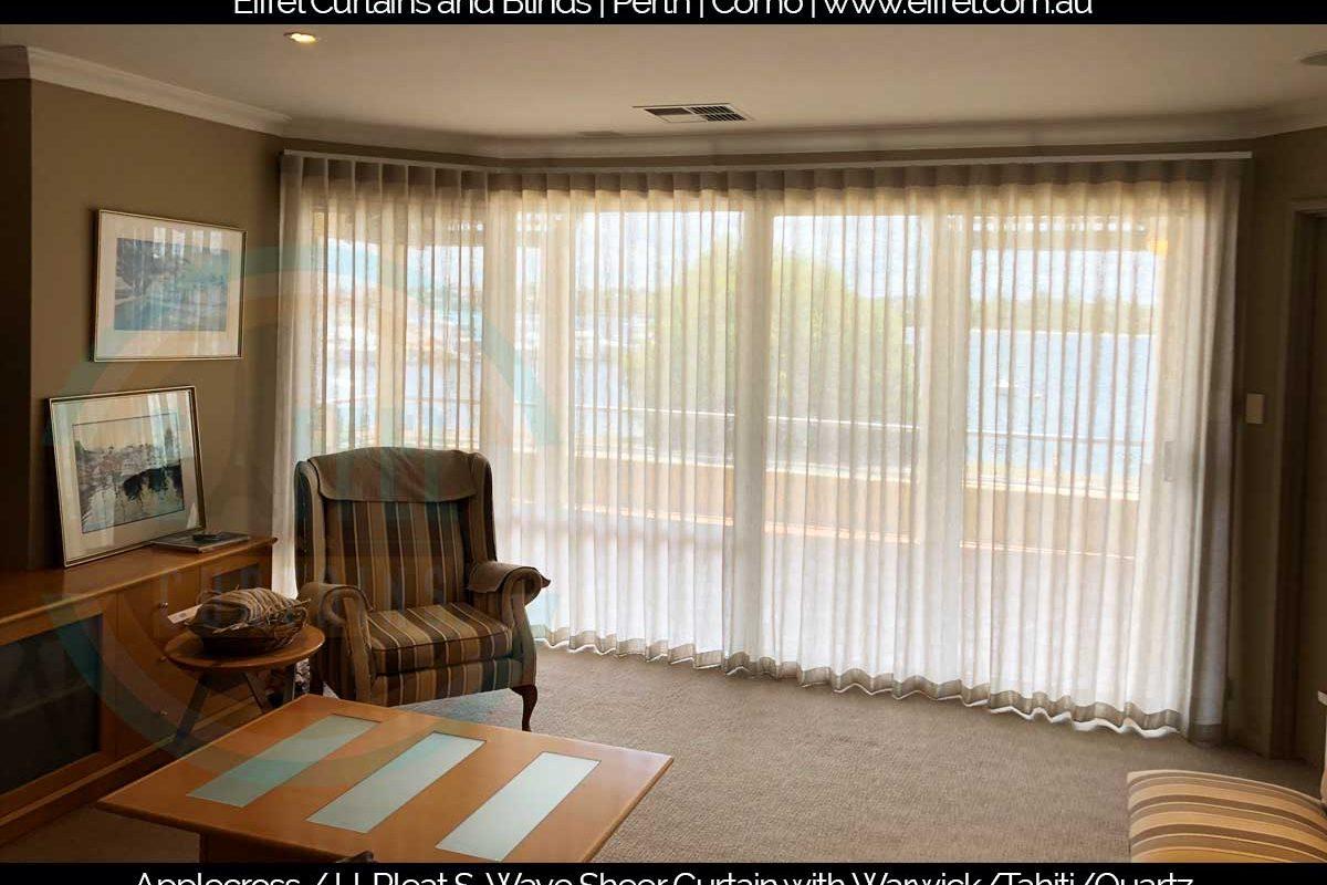 U-Pleat S-Wave Sheer Curtain with Warwick/Tahiti/Quartz in Applecross