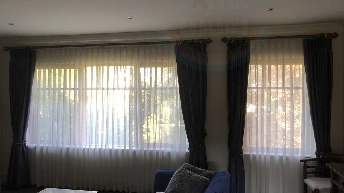 Tripe Pinch Pleat Sheer Curtains with Nettex Skye Linen in a beautiful house in Como